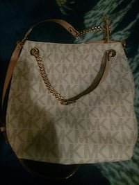 monogrammed white Michael Kors leather tote bag