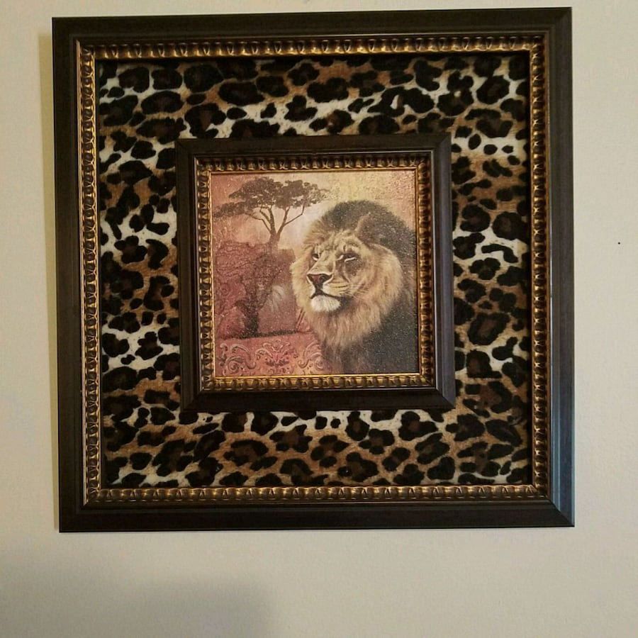Framed lion picture animal print