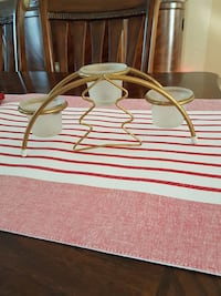 brass frame 3-piece frosted glass platform candle holder