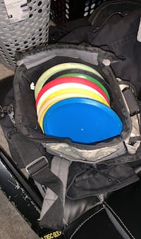 Frisbee golf discs and bag