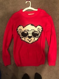 red and black crew-neck long-sleeved shirt 243 mi