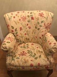 Beige, green and pink floral chair Toronto, M9C 1P7