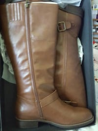 brown leather side-zip wide-calf boots Port St. Lucie, 34952