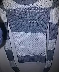 gray and white knit sweater