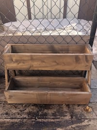 Brown wooden 2-layer planter