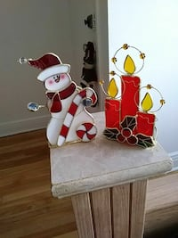 white and red wooden table decor