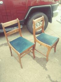 two brown wooden framed blue padded armchairs Surrey, V3S 3L7