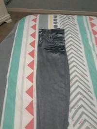 black and gray stripe leggings