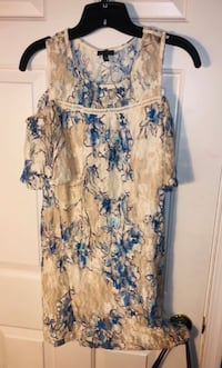 Fitted mini dress Off shoulder, Small, sheer white&blue flower lk NEW! Mount Airy