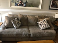 Micro fiber deep couch and love seat.  very comfortable