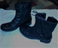 pair of black leather side-zip biker boots by guess