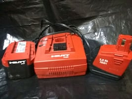 Hilti battery charger and 2 batteries
