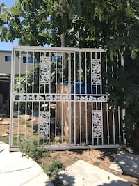 Security metal white iron gate backdoor with lock and key  West Covina, 91790