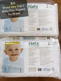 Brand New Size 2 6-13lbs (3-6kg) Naty Eco-Diapers  Vaughan, L4L 8K5