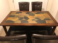 Stone top, wooden dining room table Milton, L9E