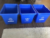 3Recicle blue plastic containers