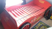 toddler's red Lightning McQueen bed frame