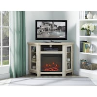 48 Wood Corner Fireplace Media TV Stand Console - White Oak, SKU# 47005