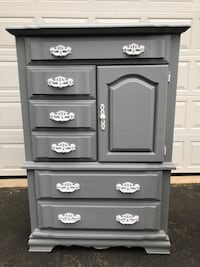 Large Solid Wood Tallboy Dresser Gray With White Handles Made in USA