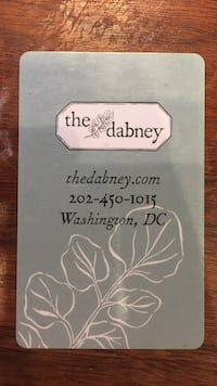 $100 gidt card for The Dabney restaurant Washington, 20001