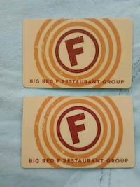 2 $100 Big Red F Restaurant Group Gift Card