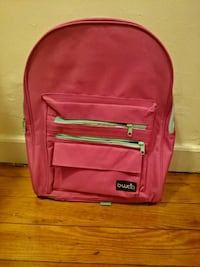 Pink and green backpack.