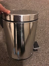 """Small stainless steel garbage can 11""""hby 8"""" d"""