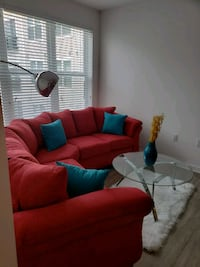 Red 2 piece Sectional with Chair and Ottoman Rockville