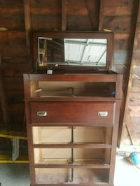 brown wooden TV hutch with flat screen television Woodbridge Township, 08863