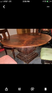 "Unique one-of-a-kind copper top with solid mahogany base dining room table. 60"" diameter Gardendale, 35071"