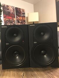 Pair of mackie hr824 studio speakers selling for $175.00. has one power cord. located near stockdale hwy \ashe rd. serious buyers only. thank you!