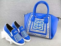 blue-and-beige Givenchy leather tote bag and slip on shoes