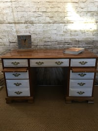 brown and white wooden single pedestal desk Germantown, 20874