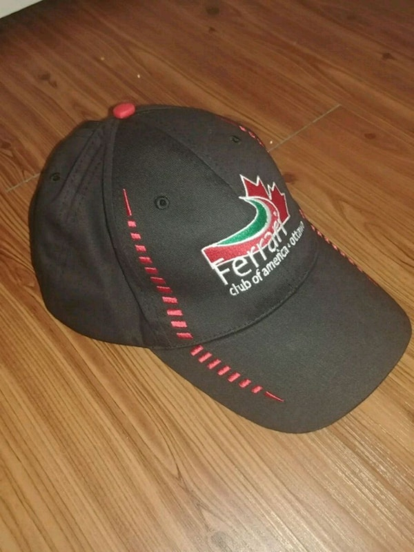 black and red fitted cap
