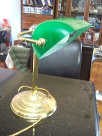 vintage Bankers Lamp Green Shade Desk Table Office