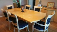 rectangular brown wooden table with six chairs dining set Clifton, 07011