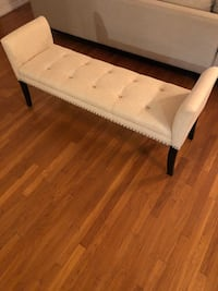 Ivory Tufted Bench