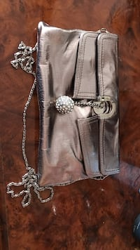 Silver leather clutch bag New York, 11204