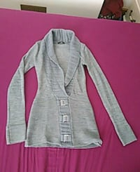 gray and white button-up cardigan