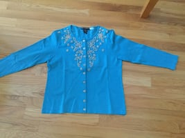 GORGEOUS TURQUOISE 100% SILK SWEATER SIZE SMALL