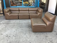 Four pieces Italian leather sectional.
