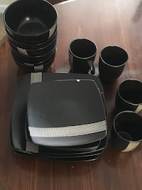 Black ceramic dinnerware set Inwood, 25428