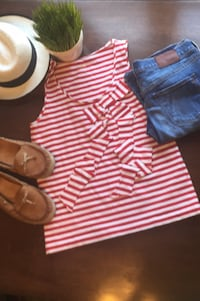 Kate Spade Red & White Striped Bow Top Sz M Chicago, 60630