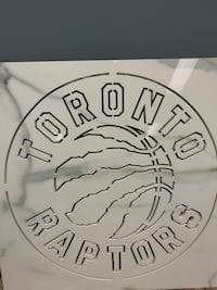 Raptors logo Caught with water jet out of porcelain