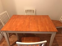 Rectangular brown wooden table with four chairs dining set Valley Cottage, 10989