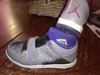 pair of black purple and white air jordan trainer North Las Vegas, 89030