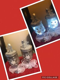 Christmas decorations with battery operated lights Collage photo of table lamps