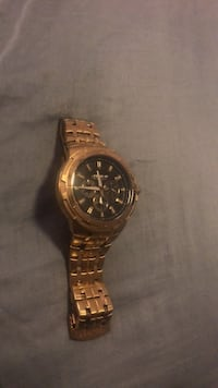 round gold-colored chronograph watch with link bracelet Severna Park, 21146