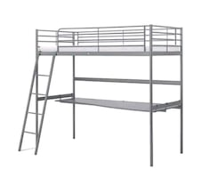 Metal Bunk Bed Silver with mattress