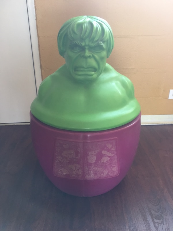 Used Incredible Hulk Toy Chest, purple bottom with Green Hulk Face